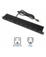 15A Horizontal Power Strip, Right Angle Outlet