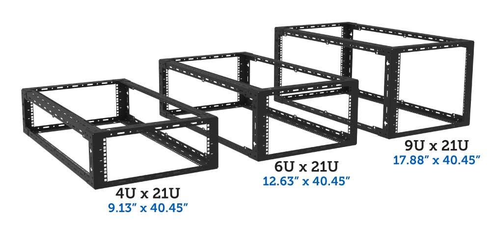 4U, 6U, 9U x 21U desktop rack
