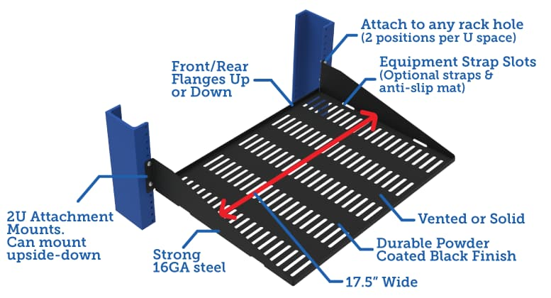 "2U Cantilever 2 Post Rack Shelf - 13"" depth"